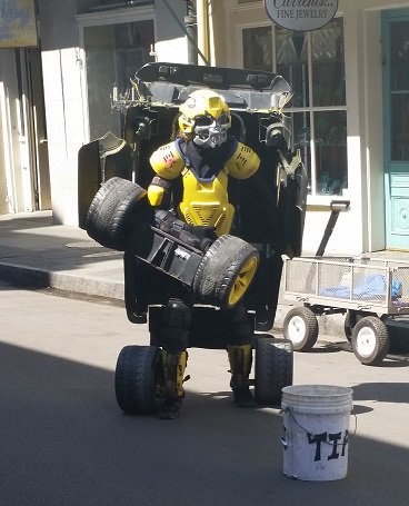 Transformer person on the street