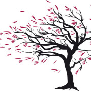 Tree blowing in the wind - cartoon.